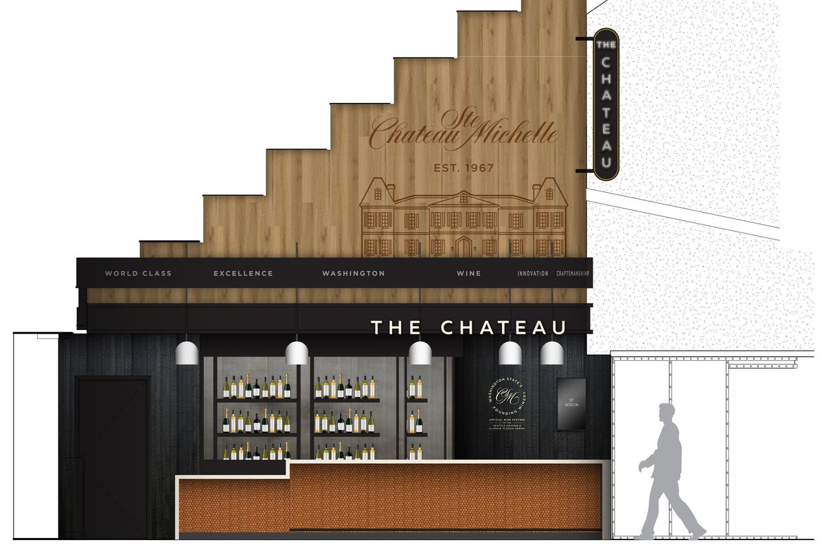 A computer rendering of the Chateau wine bar, which will be located at Climate Pledge Arena's Mount Baker hall, which has a wooden roof and black walls