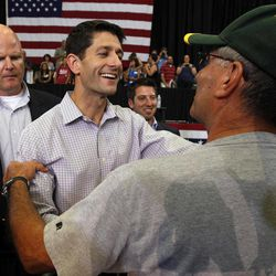 Republican vice presidential candidate, Rep. Paul Ryan, R-Wis., greets supporters during a campaign event at Kirkwood Community College, Tuesday, Sept. 4, 2012 in Cedar Rapids, Iowa.