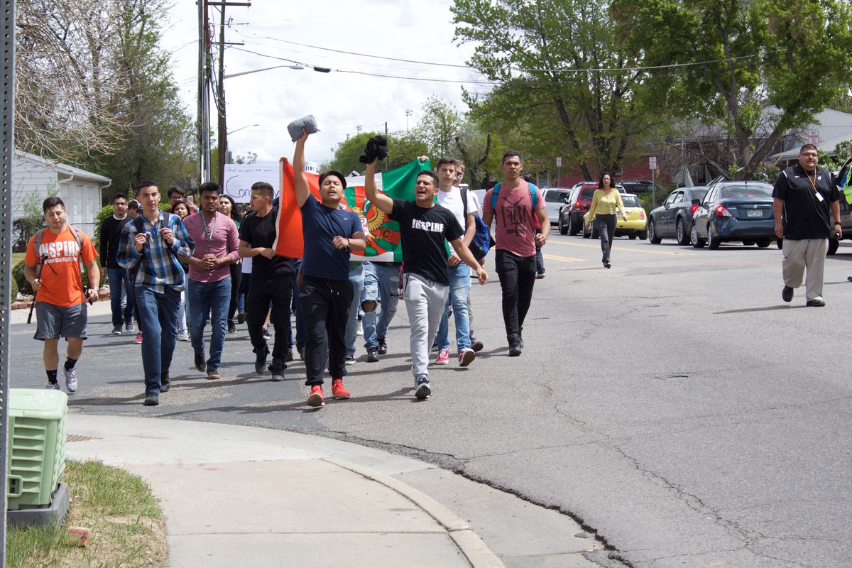 Students from Adams City High School march toward the district building April 25, 2017. (Photo by Yesenia Robles, Chalkbeat)