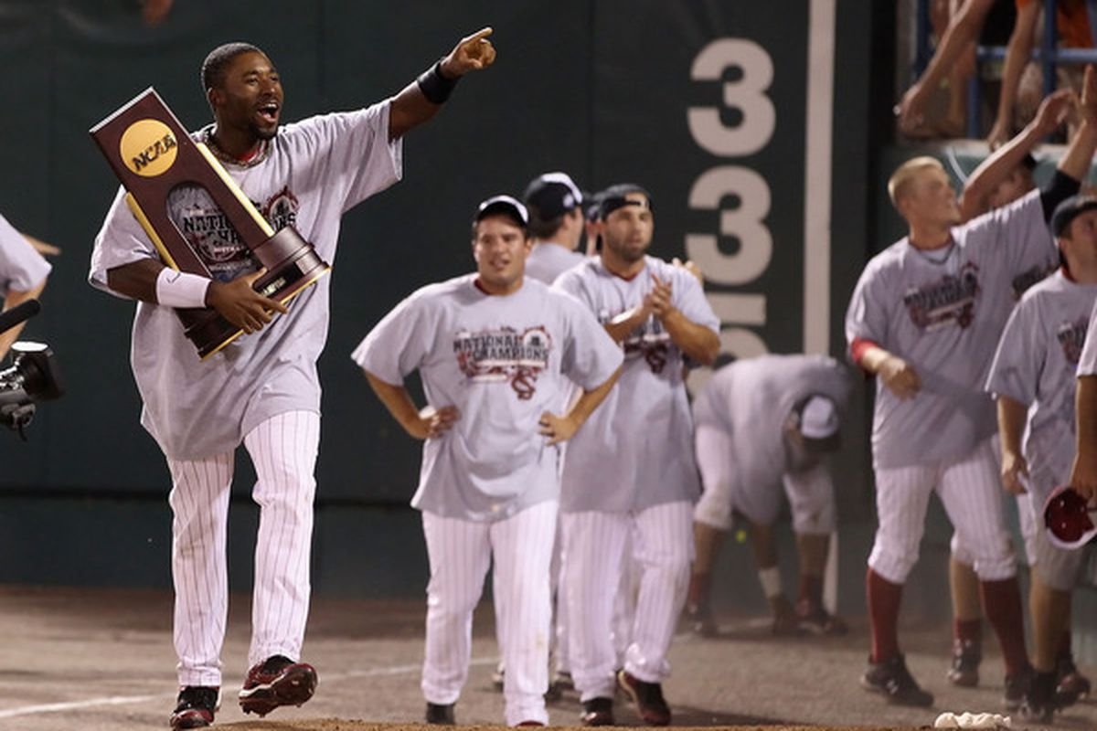 Jackie Bradley, Jr. #19 of the South Carolina Gamecocks celebrates with the Championshop trophy after the men's 2010 NCAA College Baseball World Series.  (Photo by Christian Petersen/Getty Images)