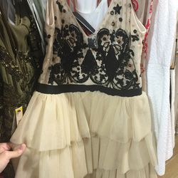 Black and nude beaded dress, $279 (was $698)