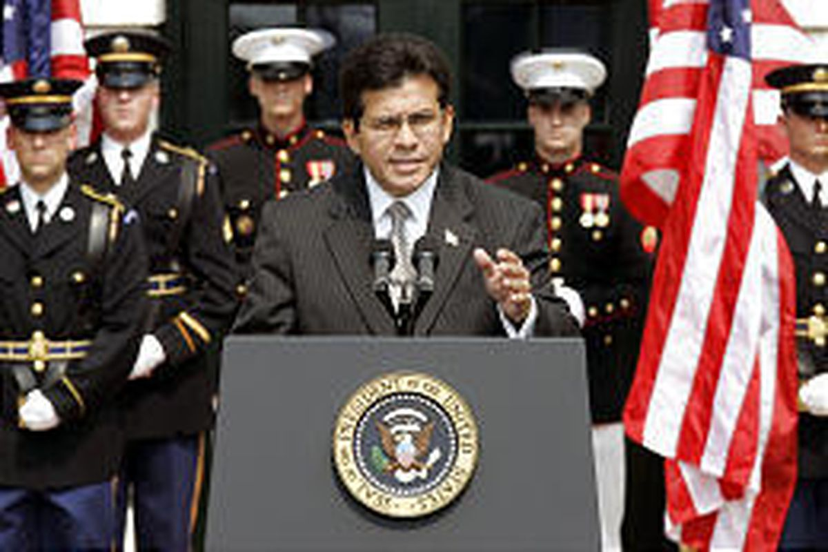 Attorney General Alberto Gonzales, at the White House, is a leading contender for a Supreme Court seat.