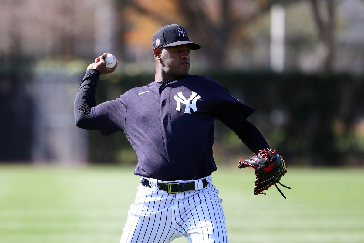 New York Yankees starting pitcher Luis Severino works out during spring training at George M. Steinbrenner Field.