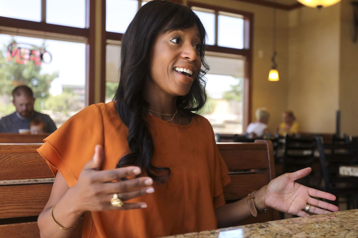 Mia Love answers questions during an interview at Kneaders in Saratoga Springs on July 5, 2019.