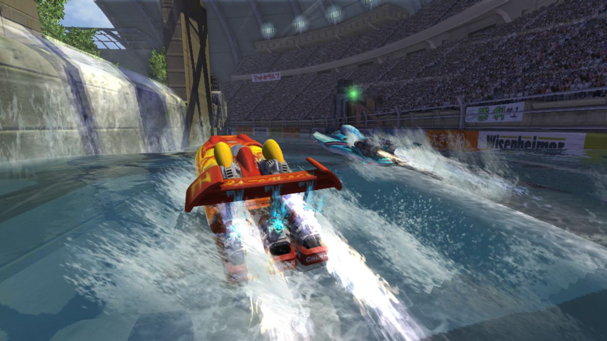 Hydro Thunder Hurricane - two boats in indoor arena