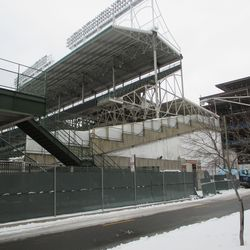 Wed 12/30: new wood forms at left-field corner lower bowl now complete -