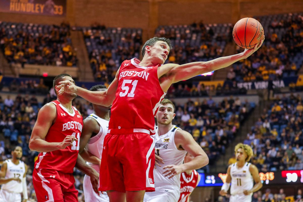 Boston University Terriers forward Max Mahoney grabs a rebound during the second half against the West Virginia Mountaineers at WVU Coliseum.