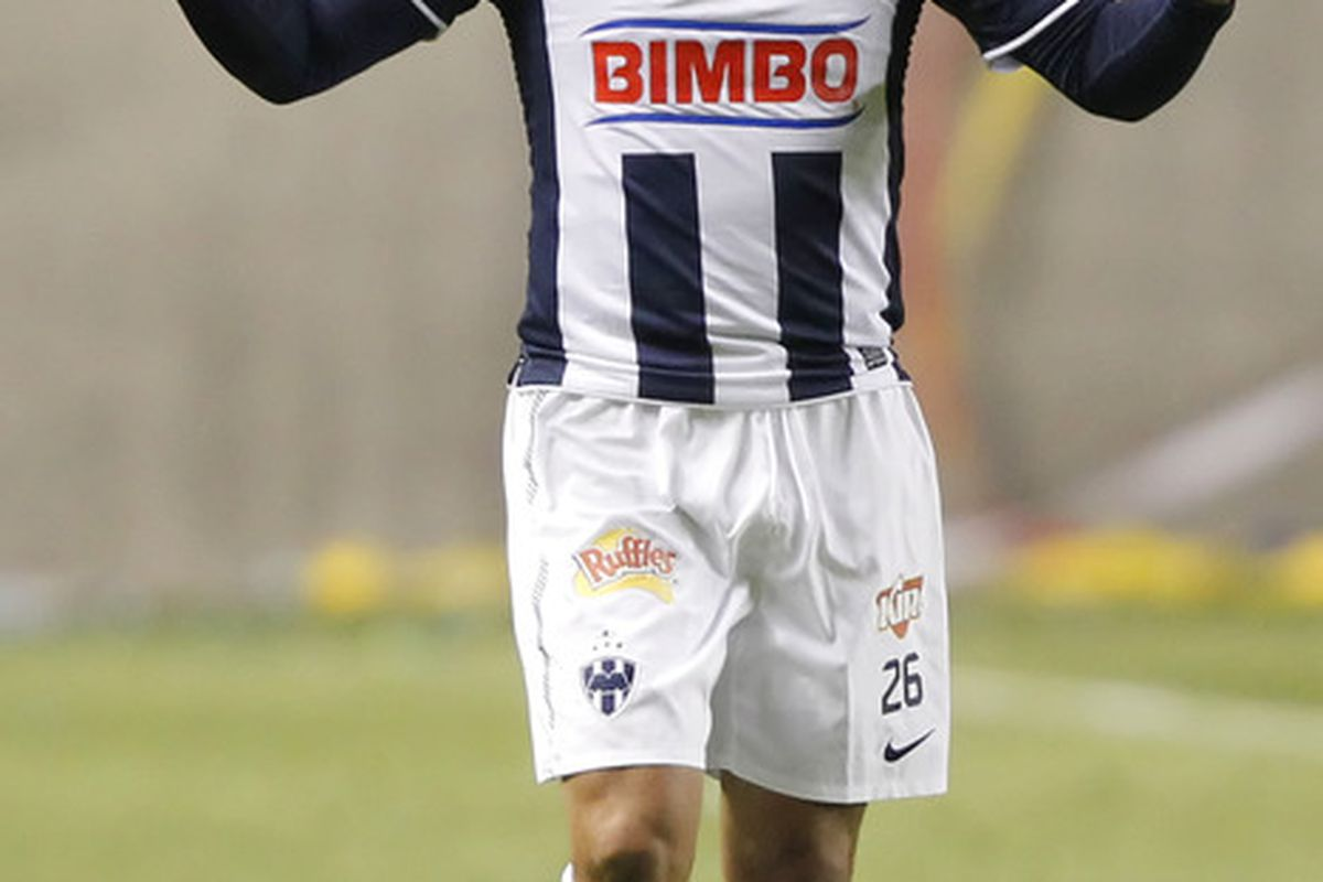 SANDY, UT - APRIL 27: Humberto Suazo #26 of Monterrey Mexico celebrates his goal against Real Salt Lake during the first half of the CONCACAF Championship game April 27, 2011 at Rio Tinto Stadium in Sandy, Utah. (Photo by George Frey/Getty Images)