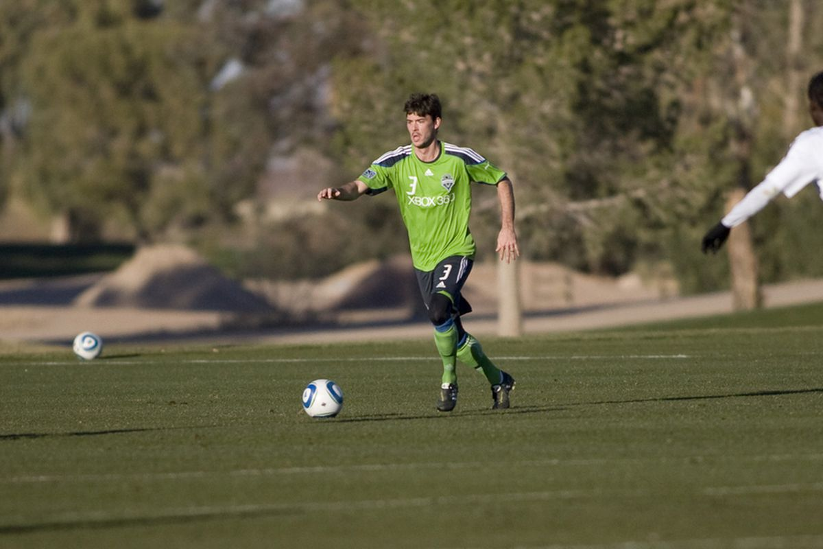 Brad Evans appears to be locked in a battle for the chance to start alongside Osvaldo Alonso in central midfield for the Seattle Sounders. (Photo Courtesy of Seattle Sounders FC)