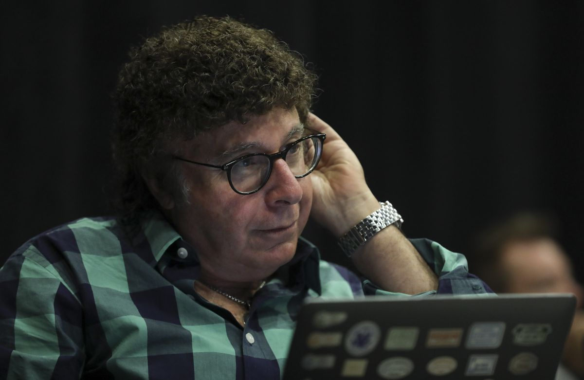"""Sam Goldstein, a neurologist at the University of Utah, listens to a song during rehearsal for the musical """"A Wall Apart"""" at the TV studio on the Salt Lake Community College campus on Tuesday, July 30, 2019."""