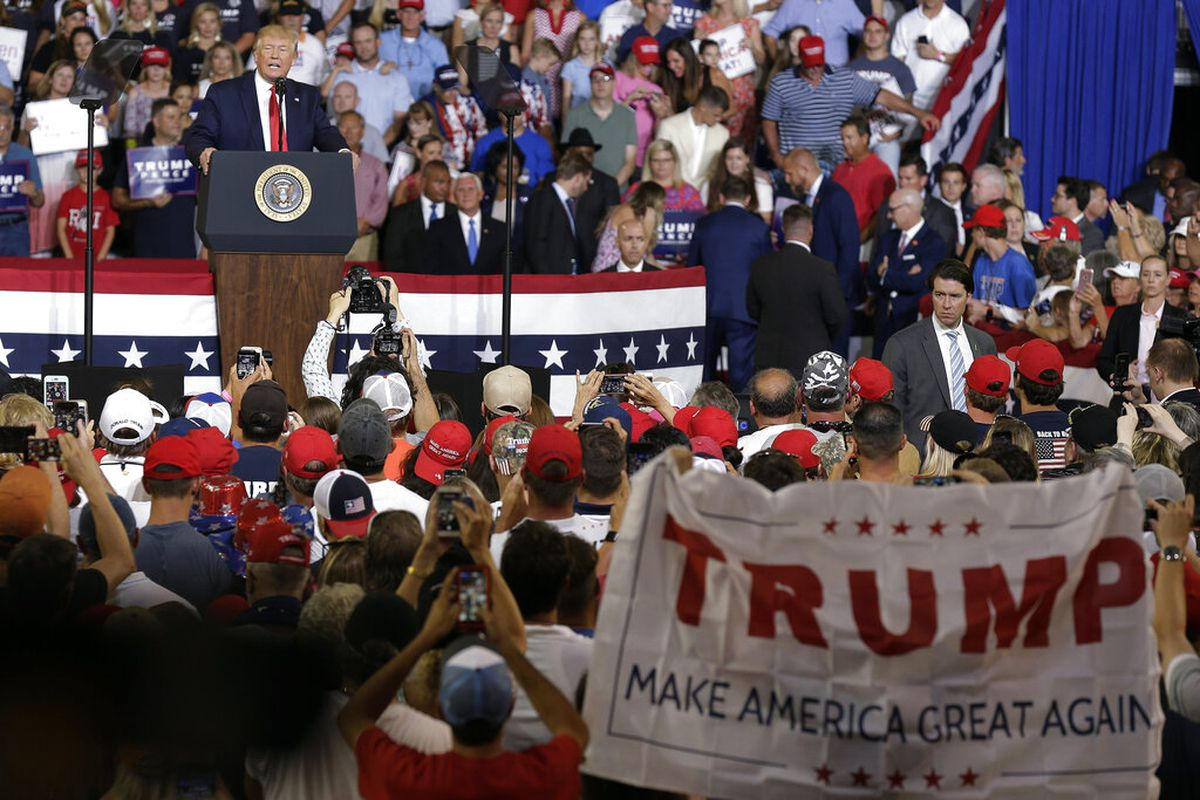 President Donald Trump speaking at a campaign rally in Greenville, N.C.