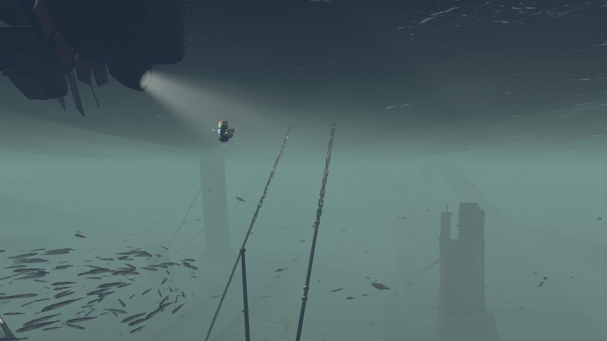 Die Hauptfigur schwebt unter den Wellen.