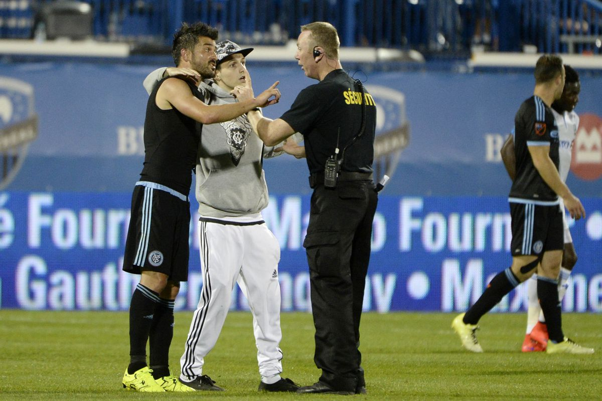 David Villa is a good dude - defending a pitch intruder from security; Toronto needs to be wary