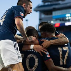 FOXBOROUGH, MA - MAY 11: The New England Revolution celebrate after Juan Agudelo's goal during the first half against the San Jose Earthquakes at Gillette Stadium on May 11, 2019 in Foxborough, Massachusetts. (Photo by J. Alexander Dolan - The Bent Musket)