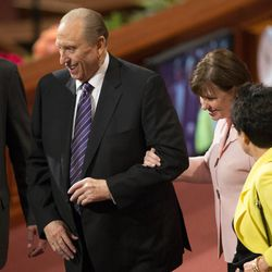 President Thomas S Monson smiles as he exits the stand following the 183rd Semiannual General Conference for the Church of Jesus Christ of Latter-day Saints Sunday, Oct. 6, 2013 inside the Conference Center.
