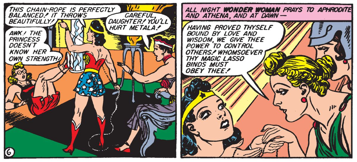 """""""Having proved thyself bound by love and wisdom, we give thee power to control others!"""" says Athena as she awards the magic lasso to Wonder Woman in Sensation Comics #6, DC Comics (1942)."""