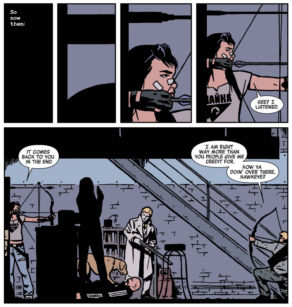 Kate Bishop, Clint Barton, and others in Hawkeye #22, Marvel Comics (2015).