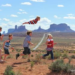 """Alan Lawrence photographed his son William in a series titled """"Wil Can Fly"""" on his blog, <a href=""""http://thatdadblog.com/"""">thatdadblog.com</a> From left: Gracie, Nikolas, Zac, William and Ali Lawrence."""
