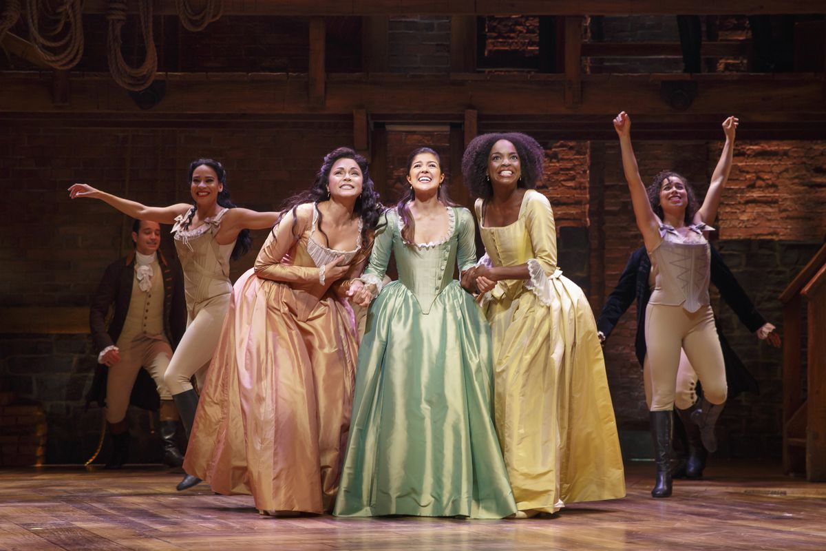 """The Schuyler sisters, played by (from left) Karen Olivo, Ari Afsar and Samantha Marie Ware, in the Chicago production of the Lin-Manuel musical """"Hamilton"""" at The PrivateBank Theatre. (Photo: Joan Marcus)"""