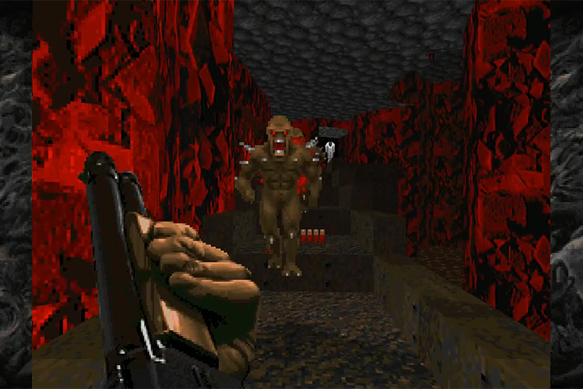 Doomguy reloads a shotgun while facing an Imp in the Doom add-on Sigil