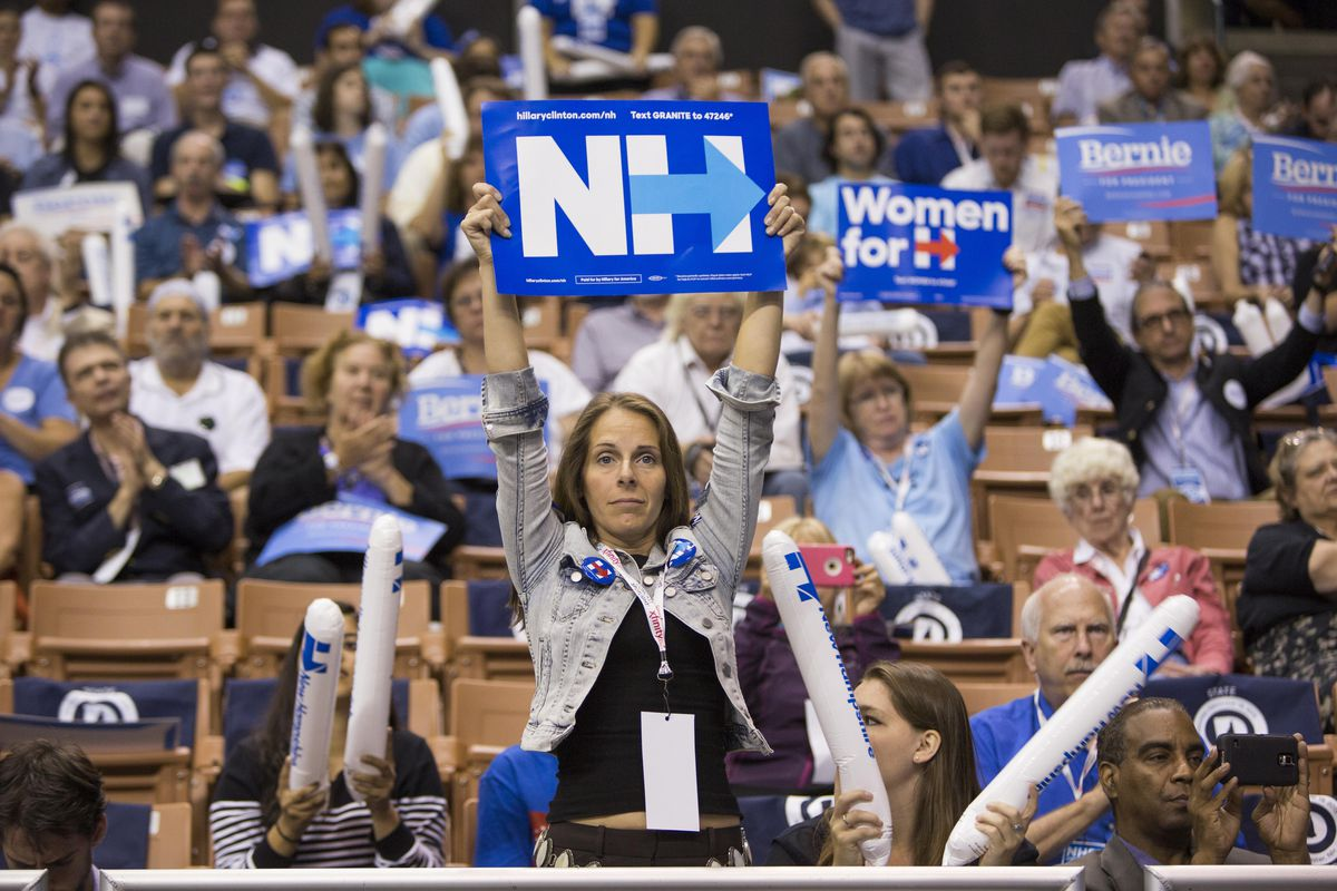 Hillary Clinton supporters rally in New Hampshire.