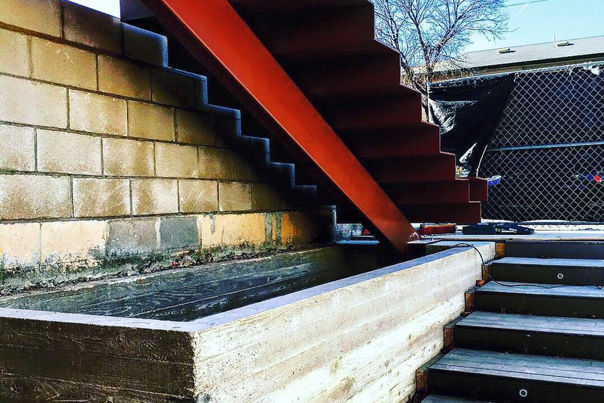 The stairway to the rooftop patio at Backbeat.