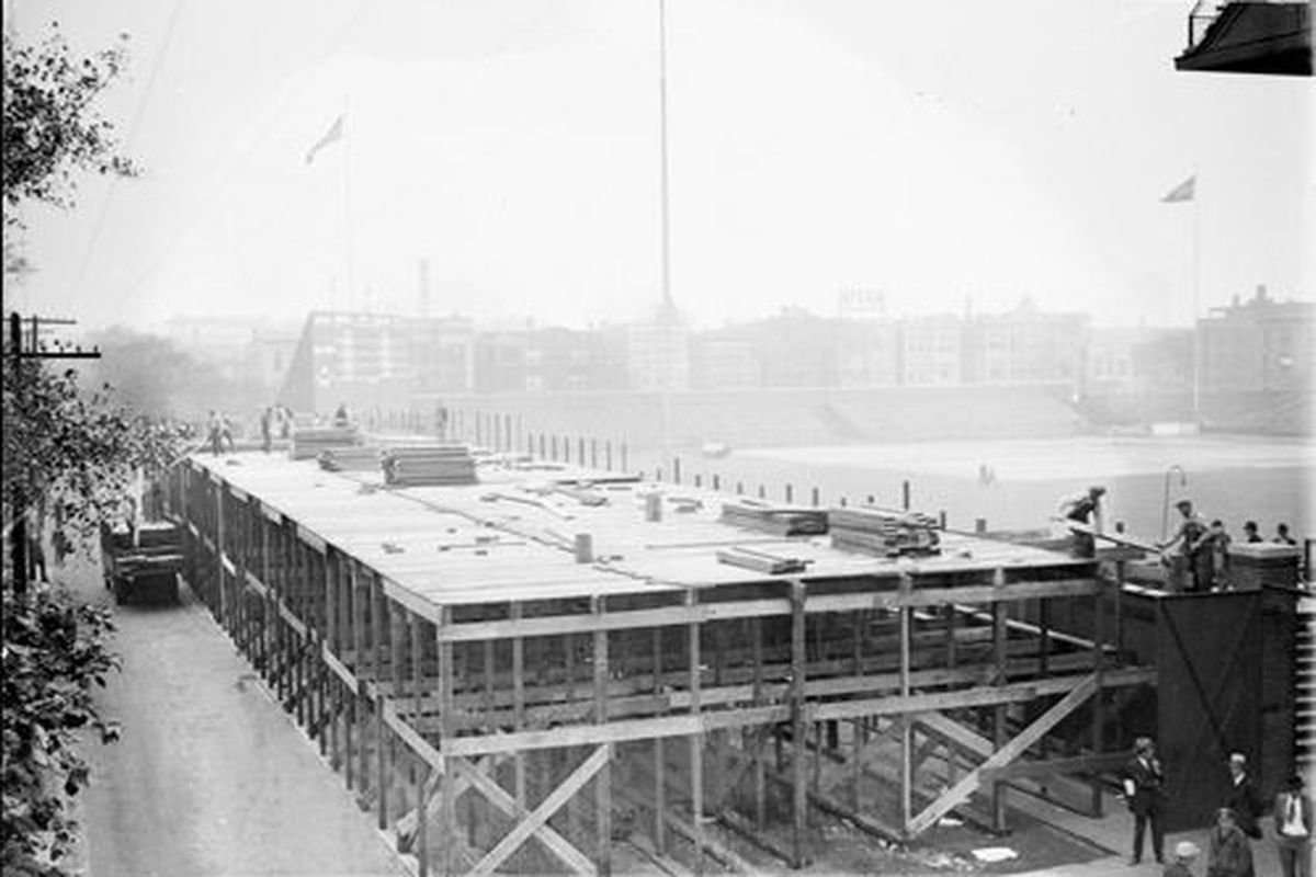 Weeghman Park under construction in 1914 (photo via Wikimedia Commons)