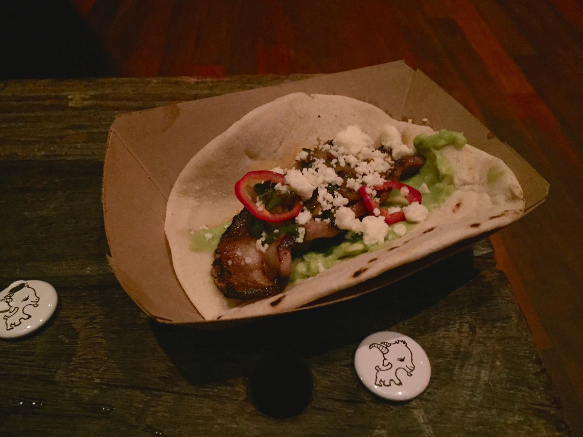 Pork loin tacos at Girl and the Goat