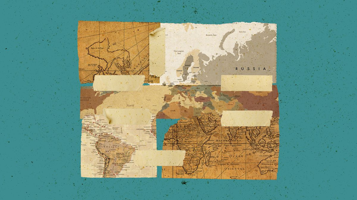 An illustration showing pieces of world maps.