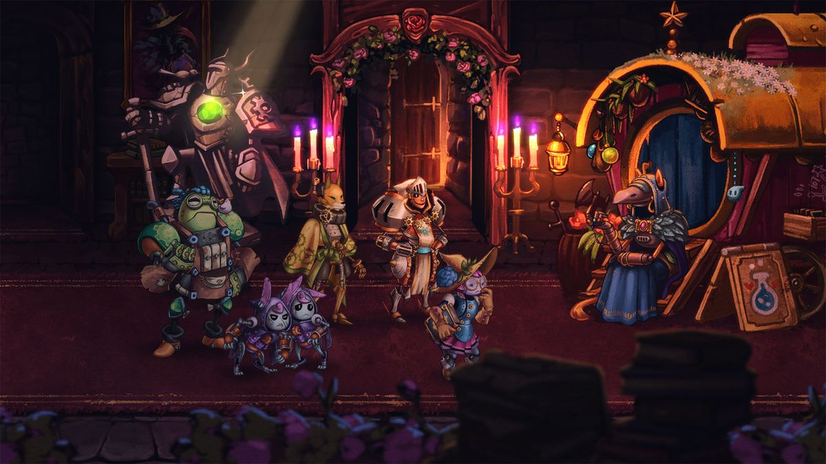 SteamWorld Quest - characters in front of a throne