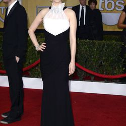 Holy hair, January Jones. The black-and-white gown is Prabal Gurung.