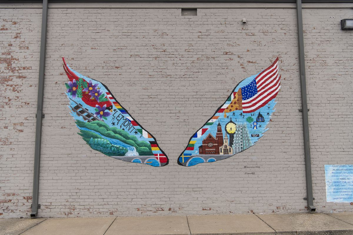 """""""Quarryman's Wings"""" can be found on an exterior wall at Quarry Pub and Grill in the 1000 block of State Street in Lemont."""