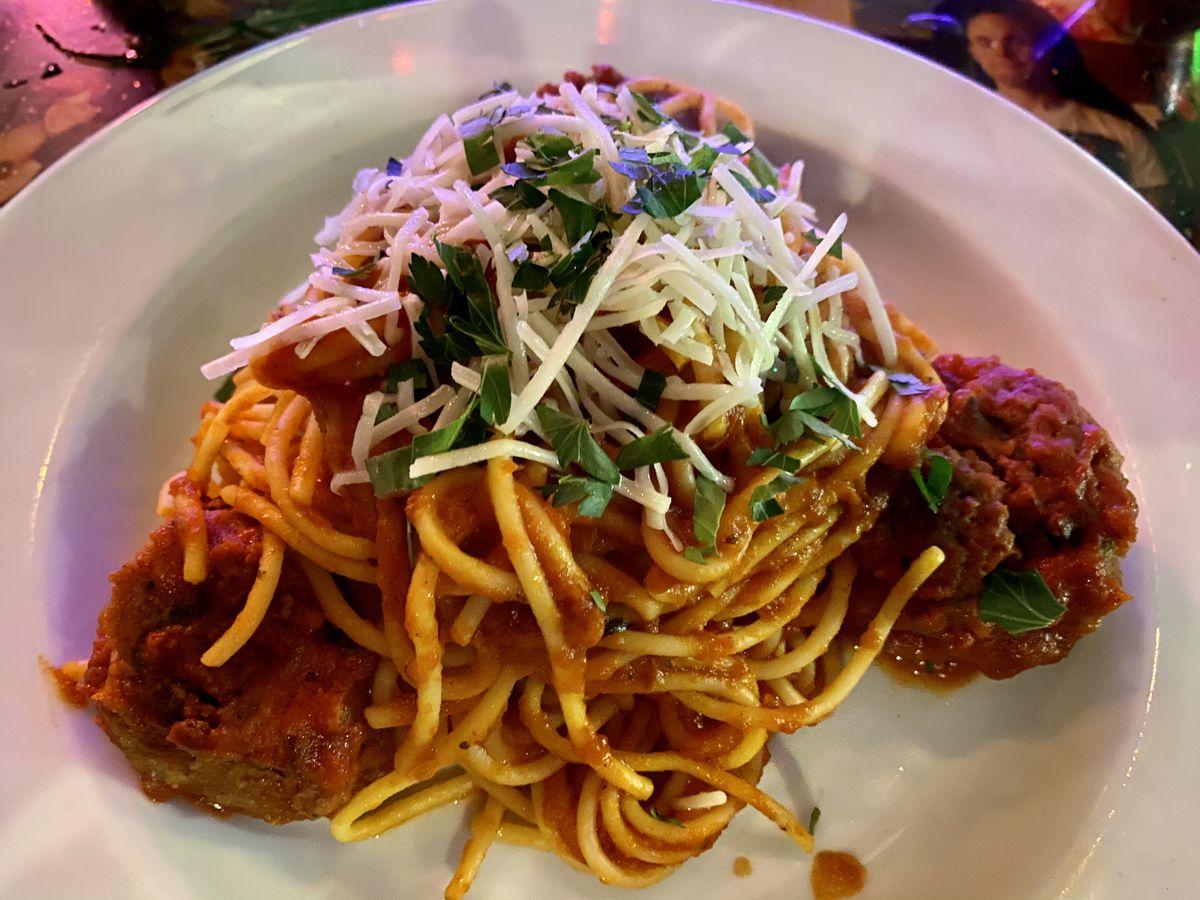 Spaghetti and meatballs at Emmy's Spaghetti Shack