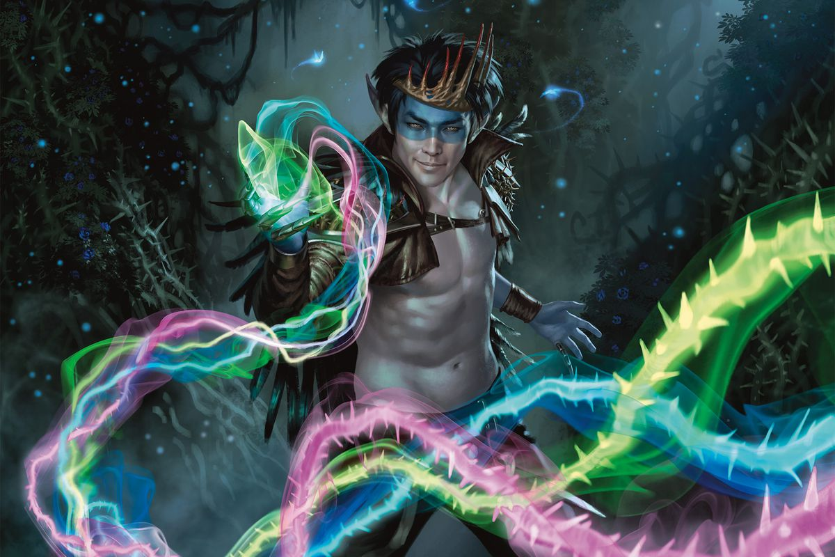 A Puck-like, pale-skinned humanoid nymph creature wearing a red crown — not unlike the MTG icon itself — wields a multicolored spell in official art from Magic: The Gathering's Throne of Eldraine set.