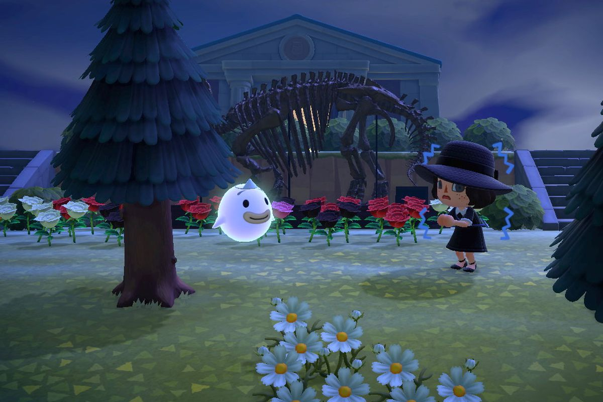 Wisp scaring a villager in Animal Crossing: New Horizons