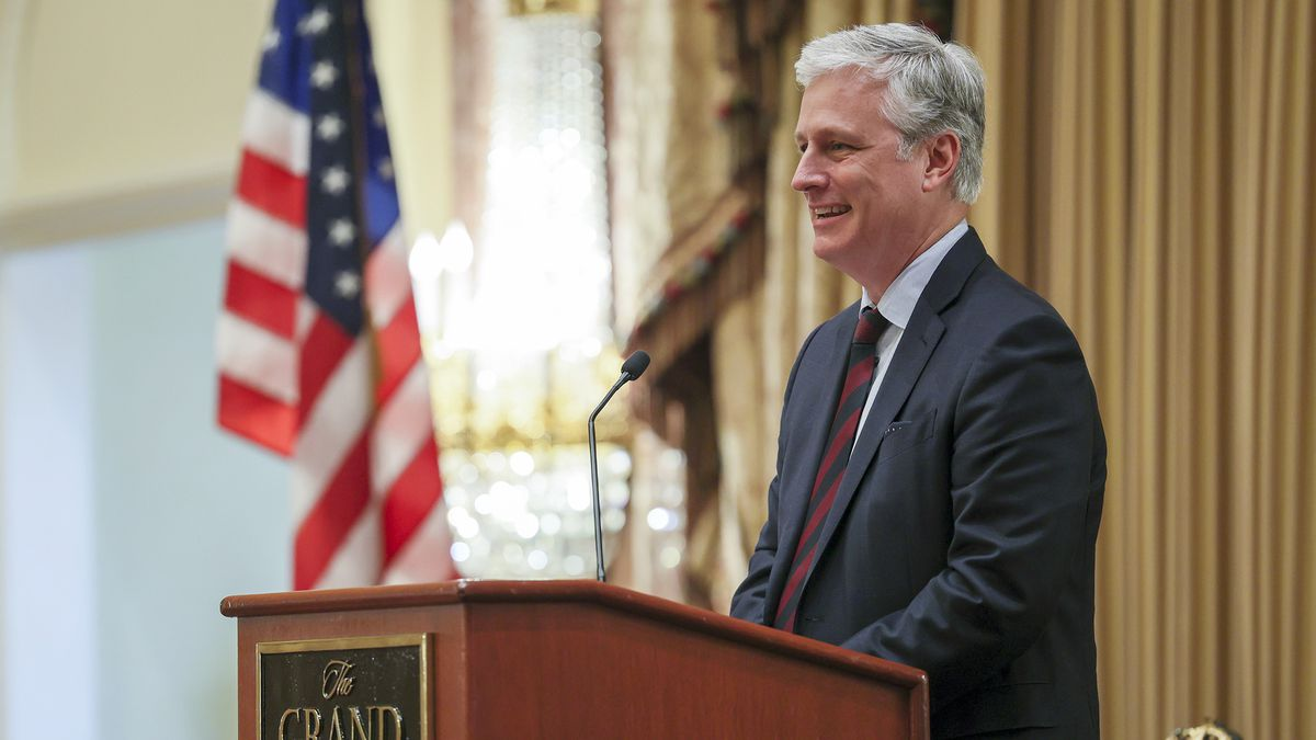 U.S. national security adviser Robert O'Brien gives the keynote address during the 6th annual Stewart Security Summit, hosted by Rep. Chris Stewart, R-Utah, at the Grand America Hotel in Salt Lake City on Tuesday, Oct. 6, 2020.