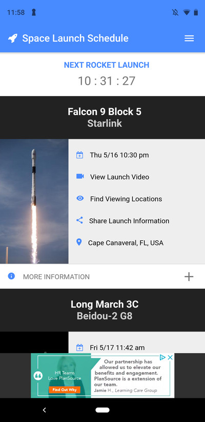 space launch schedule