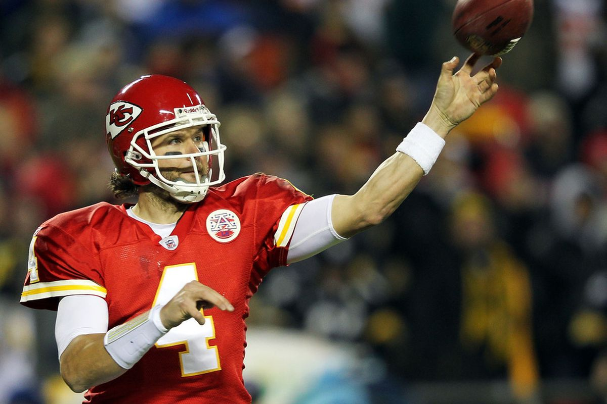 KANSAS CITY, MO - NOVEMBER 27:  Quarterback Tyler Palko #4 of the Kansas City Chiefs passes during the game against the Pittsburgh Steelers on November 27, 2011 at Arrowhead Stadium in Kansas City, Missouri.  (Photo by Jamie Squire/Getty Images)