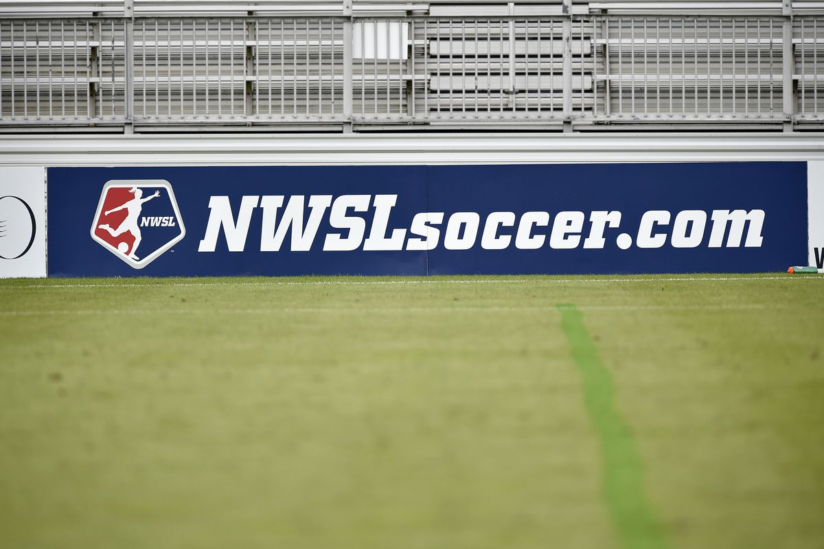 A National Womens Soccer League logo on advertising boards with a natural turf grass field during the game between the Utah Royals and Washington Spirit August 21, 2019 at Maureen Hendricks Field at Maryland SoccerPlex in Boyds, MD.