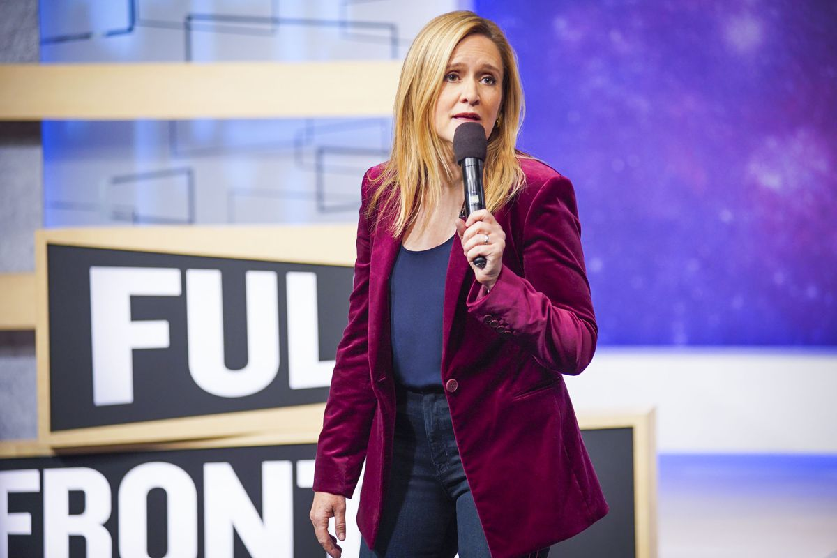 """Photo of Samantha Bee on the set of her TBS show """"Full Frontal with Samantha Bee"""""""