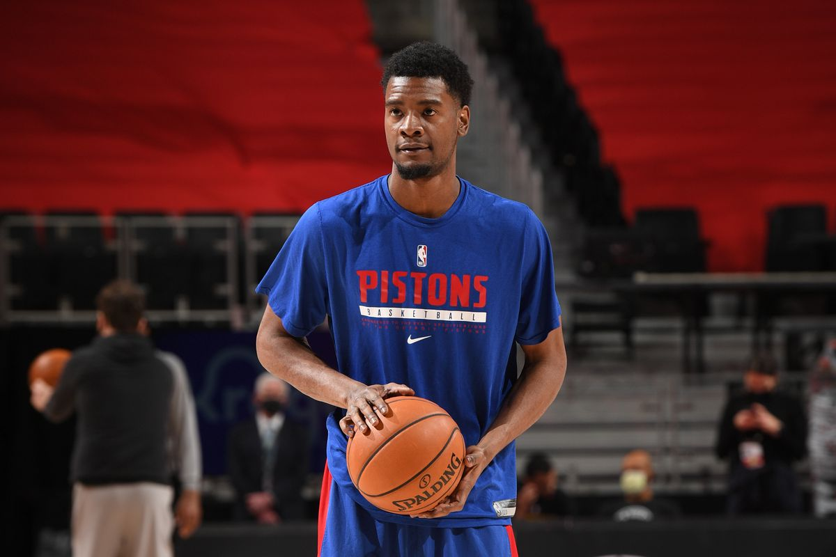 Josh Jackson of the Detroit Pistons warms up before the game against the Golden State Warriors on December 29, 2020 at Little Caesars Arena in Detroit, Michigan.