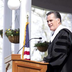 Mitt Romney gives a commencement address at Southern Virginia University on April 27, 2013.