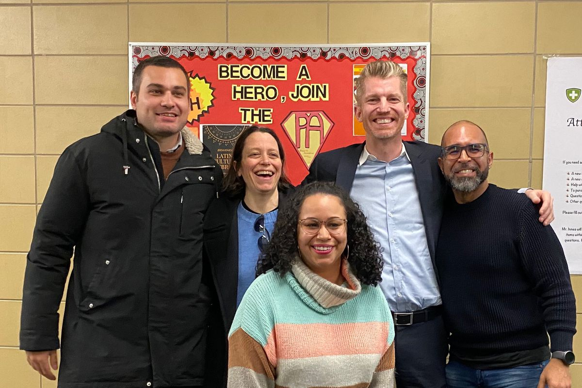 From left: Alex Fraiha, Peg Cioffi, Yesy Robles, Ben Wild, and Ed Garcia Conde, who were all involved in designing Walkabout Bronx High School.