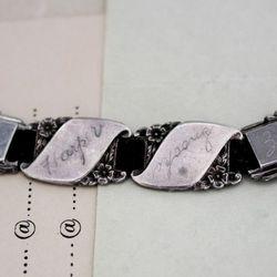 Edwardian friendship bracelet on black ribbon