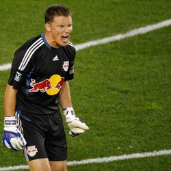 HARRISON, NJ - SEPTEMBER 21:  Frank Rost #1 of New York Red Bulls inaction against Real Salt Lake on September 21, 2011 at Red Bull Arena in Harrison, New Jersey. Real Salt Lake defeated the Red Bulls 2-1. (Photo by Mike Stobe/Getty Images for New York Red Bulls)