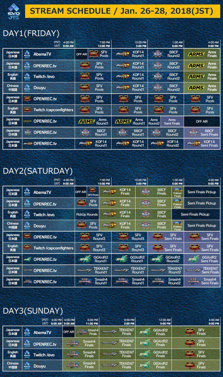 Evo Japan 2018 schedule