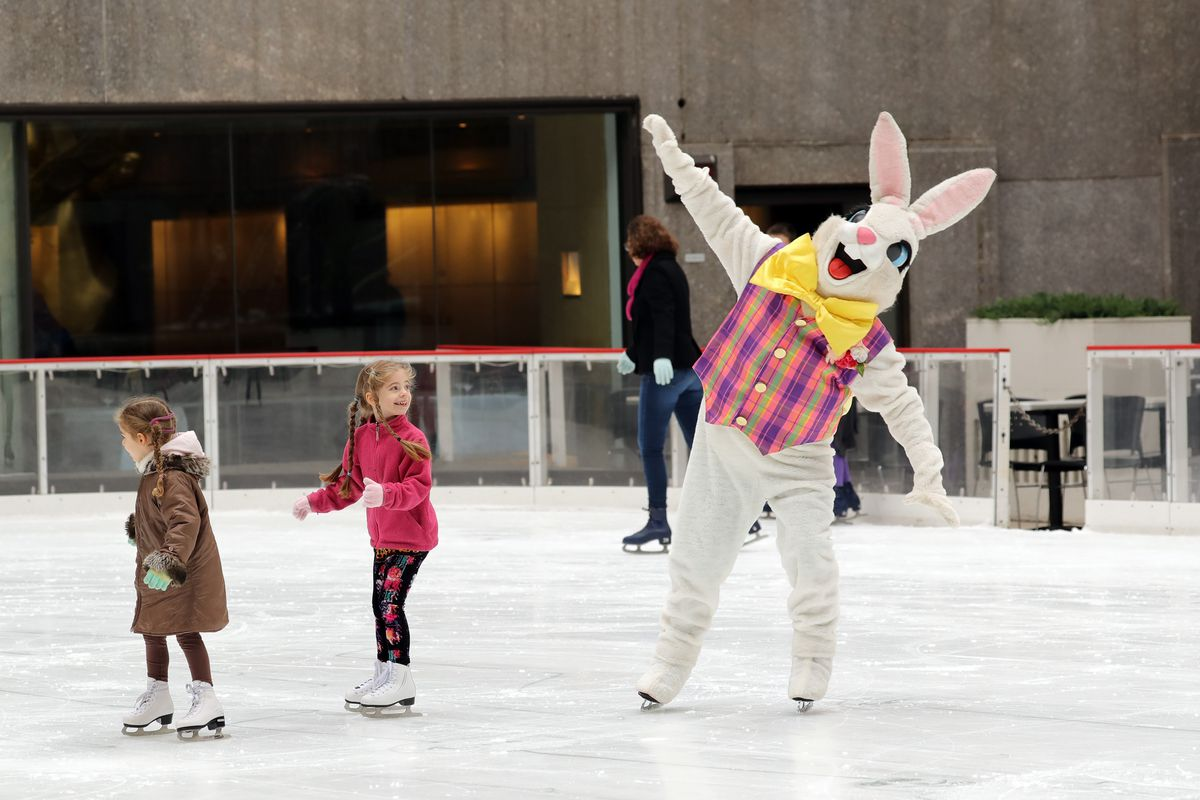 The Easter Bunny Skates On The Rink At Rockefeller Center
