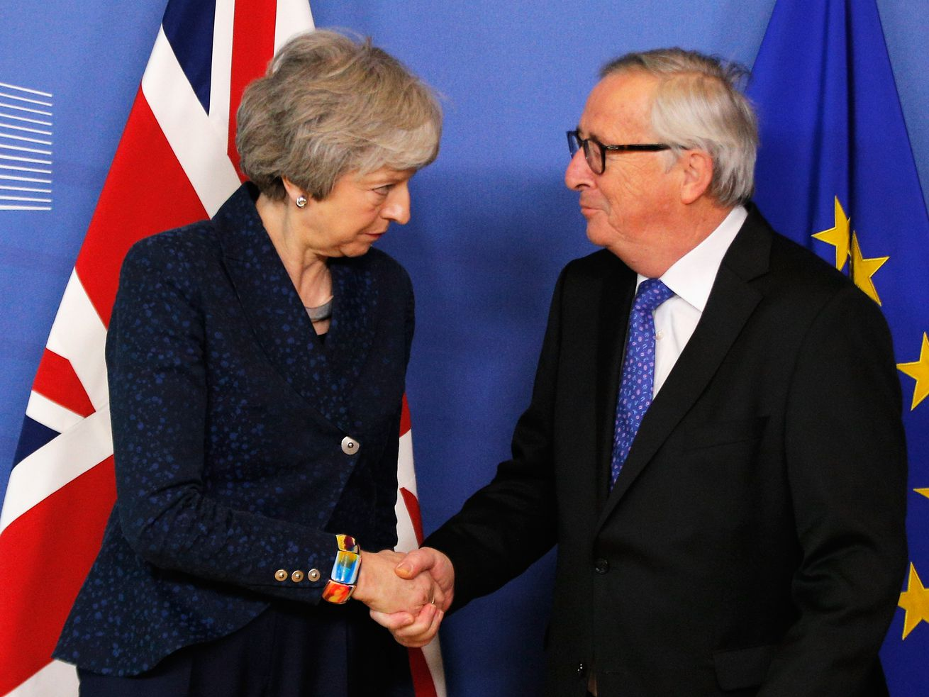 British Prime Minister Theresa May meets with European Commission President Jean-Claude Juncker on February 7, 2019.