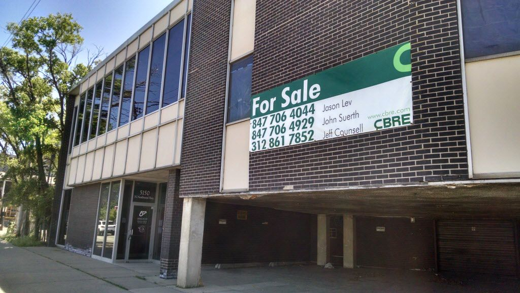 This unoccupied building at 5150 N. Northwest Hwy. in Jefferson Park could make way for a new retail and residential tower including apartments for public housing tenants.