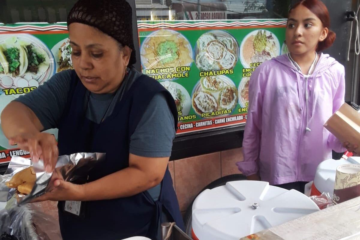 Bushwick resident Sonia Perez, left, has been out of work as a food vendor since March.